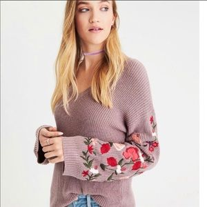 American Eagle Boho Sweater Floral Embroidery